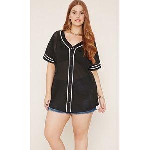 FOREVER 21+ Plus Size Black Baseball Jersey
